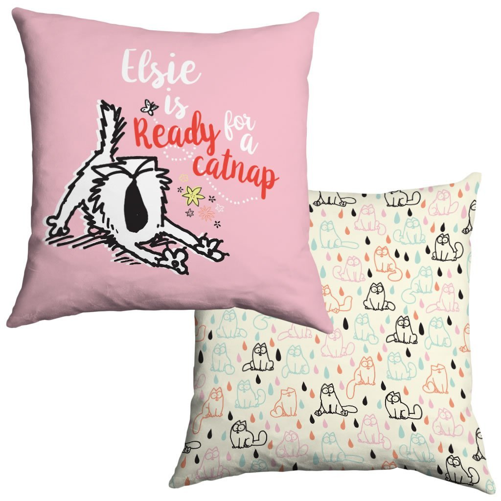 Personalised Ready for a nap Cushion - Simon's Cat Shop
