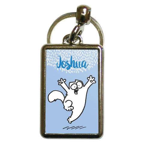 Personalised Happy Cat Blue Metal Keyring - Simon's Cat Shop
