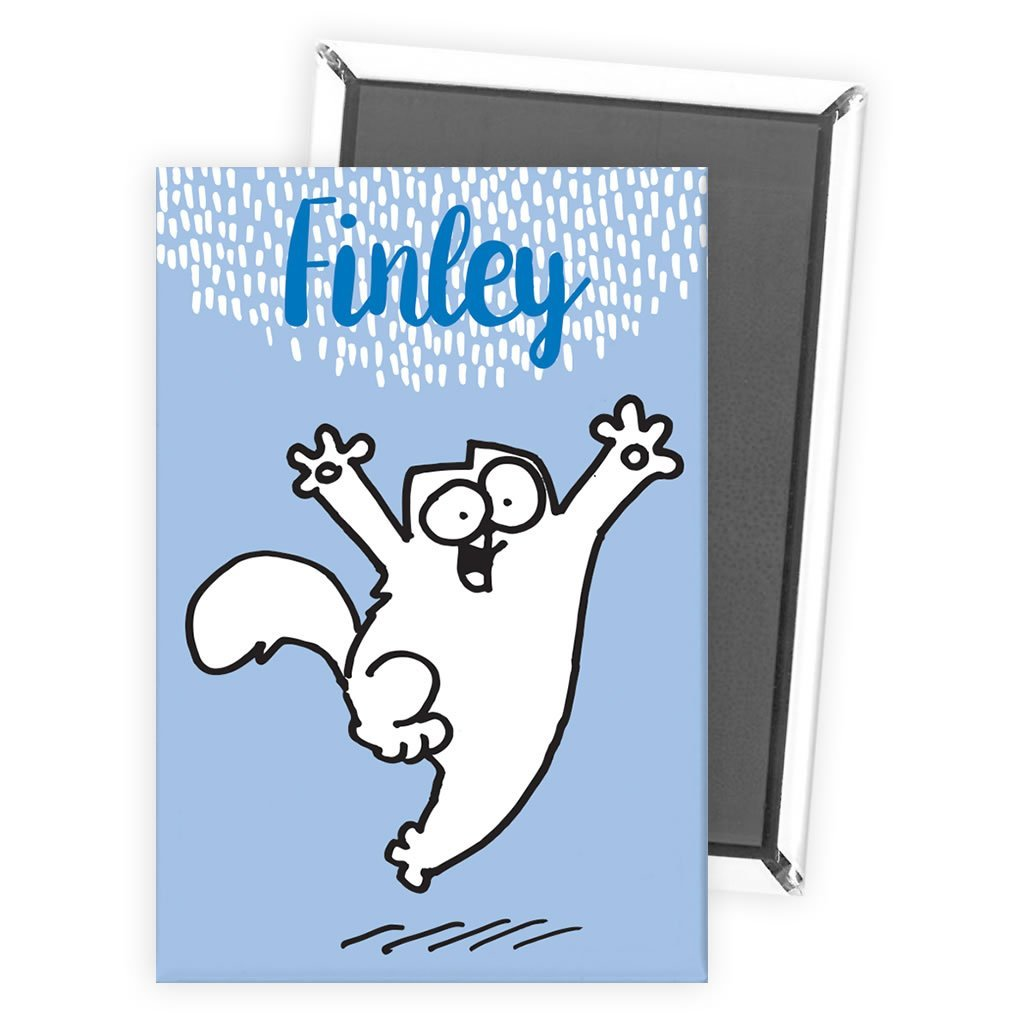 Personalised Happy Cat Blue Magnet - Simon's Cat Shop