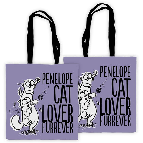 Personalised Cat Lover Furrever Purple Premium Tote - Simon's Cat Shop