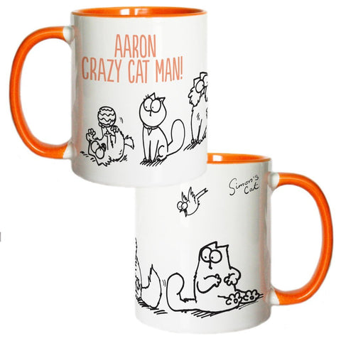 Personalised Crazy Cat Man Coloured Insert Mug - Simon's Cat Shop