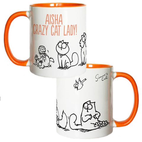 Personalised Crazy Cat Lady Coloured Insert Mug - Simon's Cat Shop