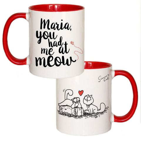 Personalised You had me at Meow Coloured Insert Mug - Simon's Cat Shop