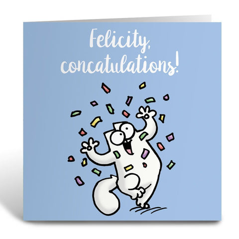 Personalised Concatulations Greeting Card - Simon's Cat Shop