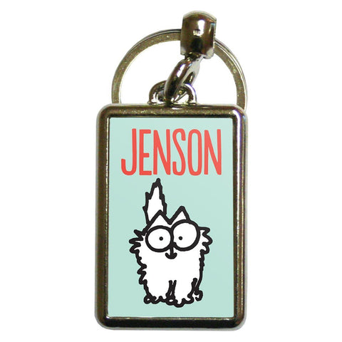 Personalised Kitten Turquoise Metal Keyring - Simon's Cat Shop