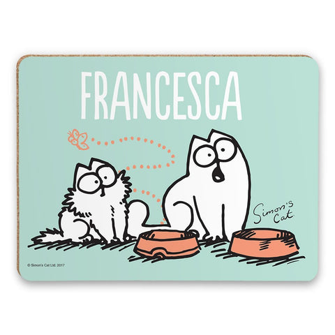 Personalised Empty Bowl turquoise Placemat - Simon's Cat Shop
