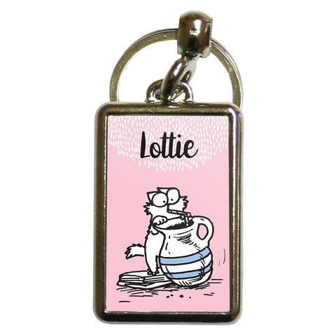 Personalised Drink Pink Metal Keyring - Simon's Cat Shop