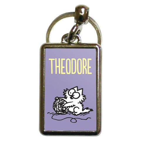 Personalised Wool Purple Metal Keyring - Simon's Cat Shop