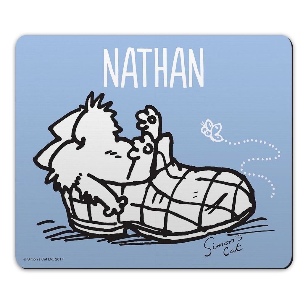 Personalised Slipper Blue Mouse Mat - Simon's Cat Shop