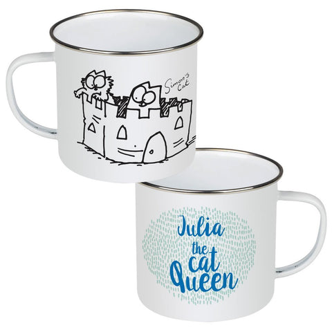 Personalised The Cat Queen Enamel Mug - Simon's Cat Shop
