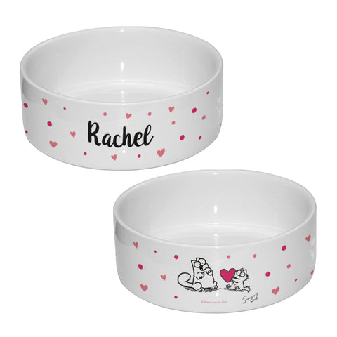 Simon's Cat Personalised Hearts Pet Food Bowl