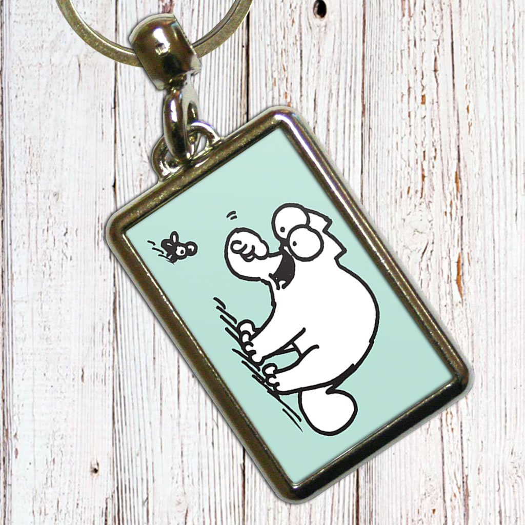 Simon's Cat Green Metal Keyring - Simon's Cat Shop