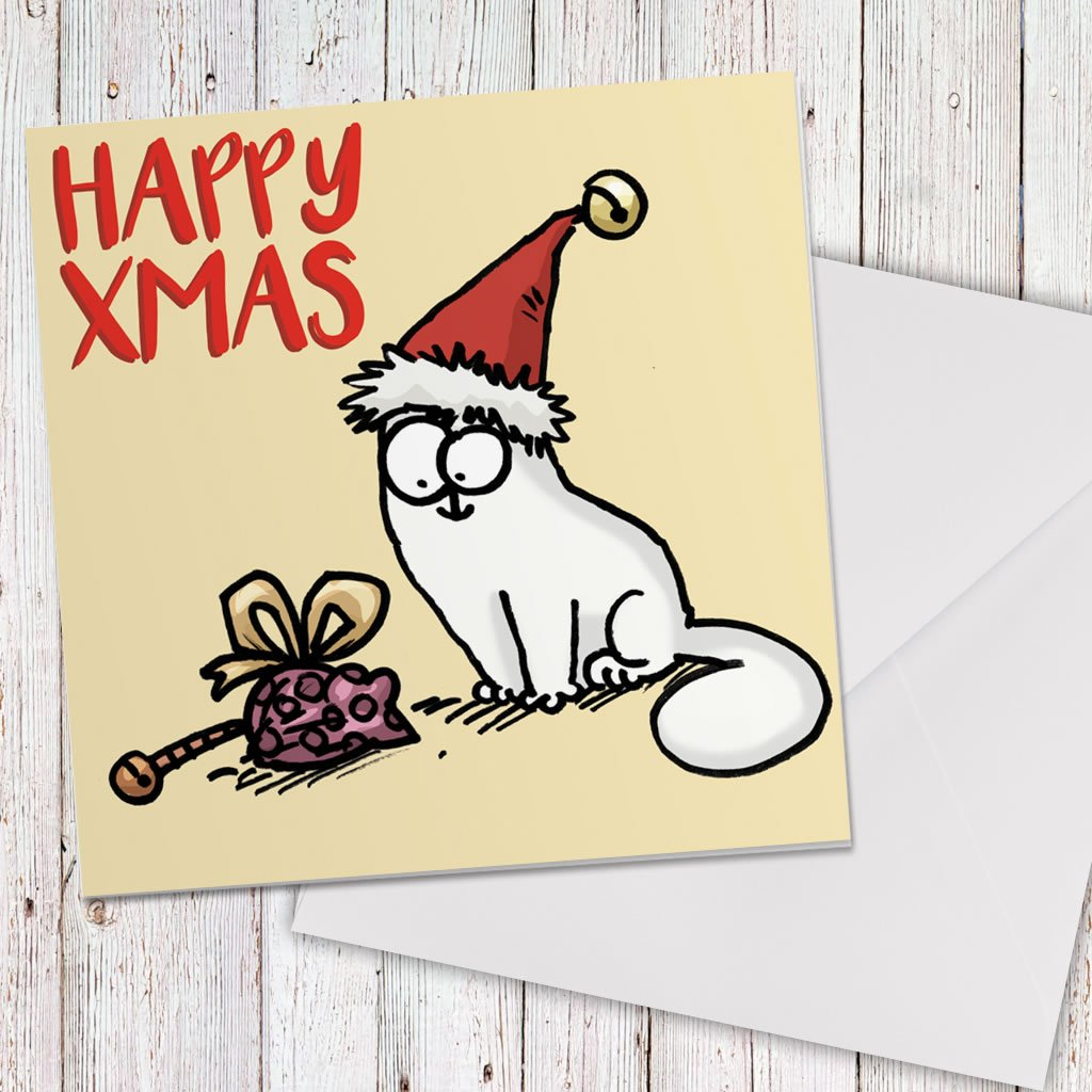 Happy Xmas Square Greeting Card - Simon's Cat Shop