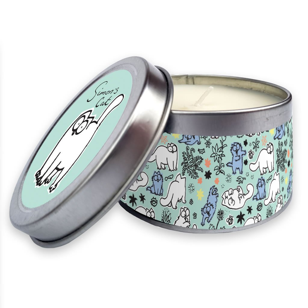 Simon's Cat Candle in a tin Blue - Simon's Cat Shop