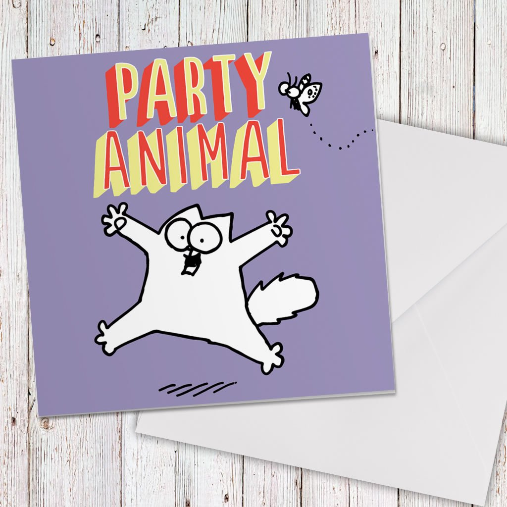 Party Animal Square Greeting Card - Simon's Cat Shop