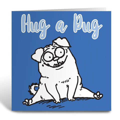 Hug a Pug Square Greeting Card - Simon's Cat Shop