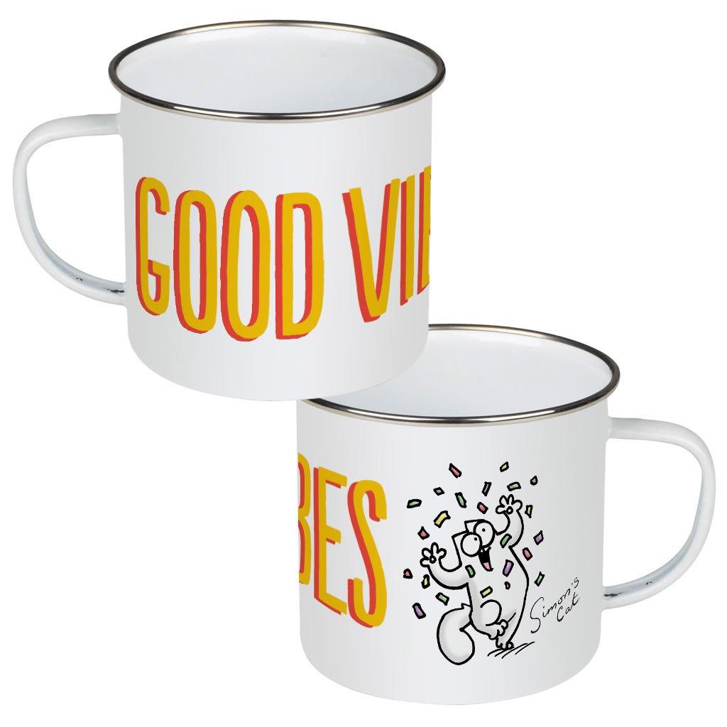 Good Vibes Enamel Mug - Simon's Cat Shop