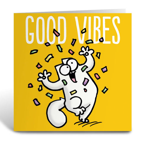 Good Vibes Square Greeting Card - Simon's Cat Shop