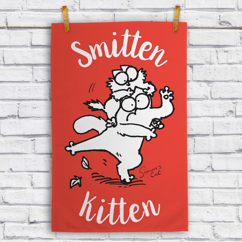 Smitten Kitten Tea Towel - Simon's Cat Shop