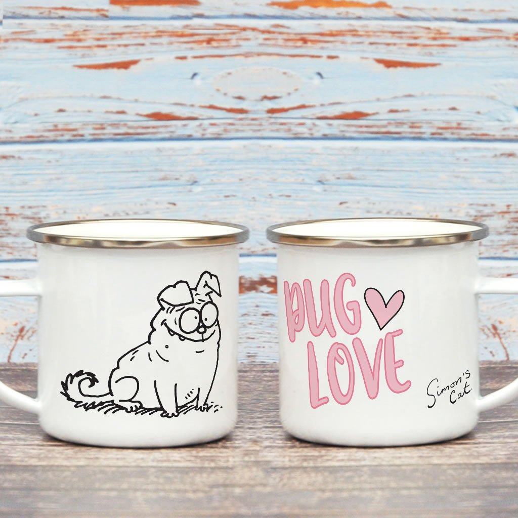 Pug Love Enamel Mug - Simon's Cat Shop