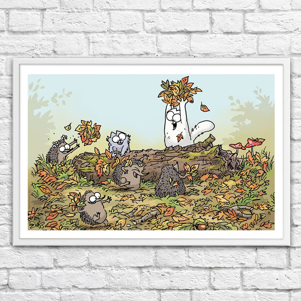Leaf Fight - Framed Art Print (61x40cm) - Simon's Cat Shop