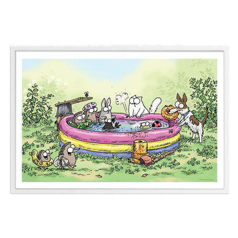 Pool Party - Framed Art Print (61x40cm) - Simon's Cat Shop