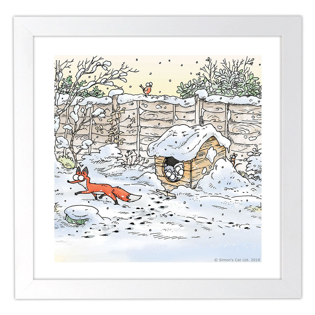 Simon's Cat Winter Square Framed Art Print - Simon's Cat Shop