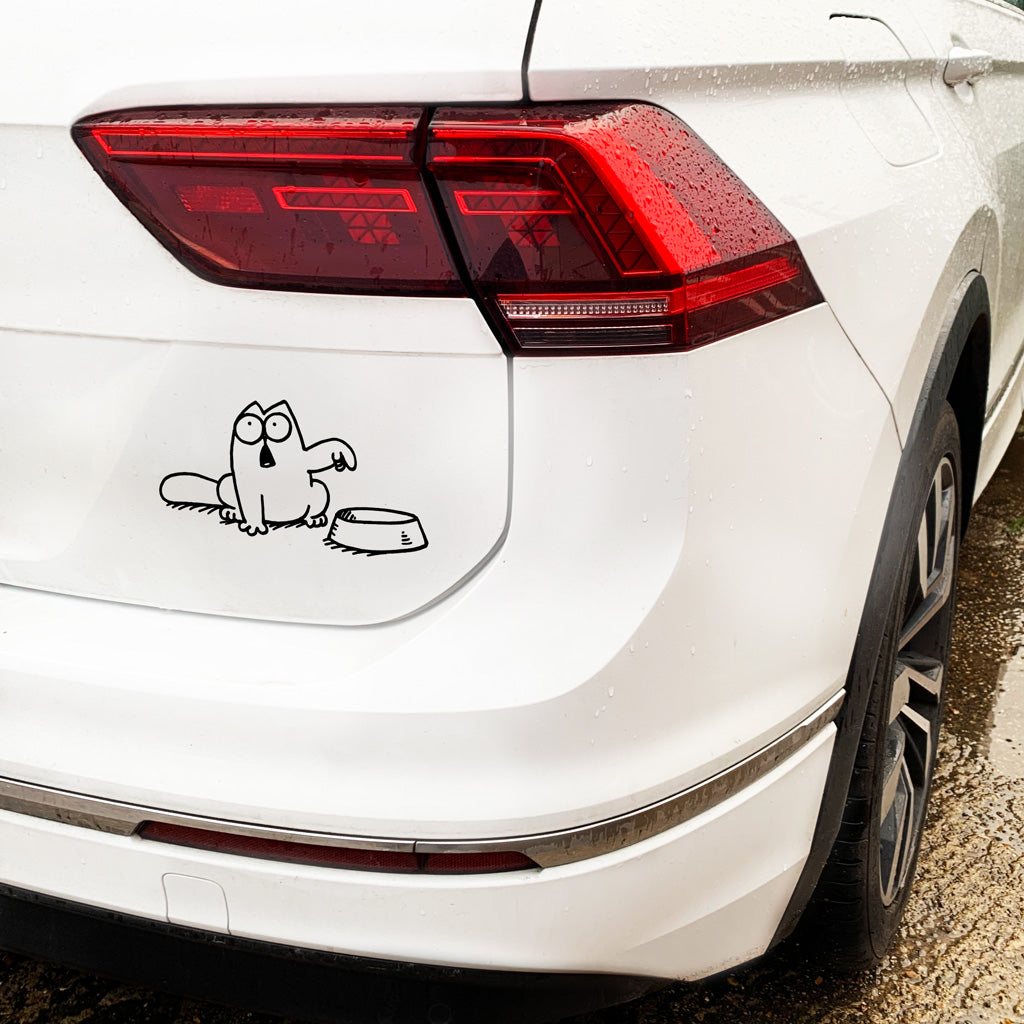 Simon's Cat Feed Me & Bowl Car Sticker