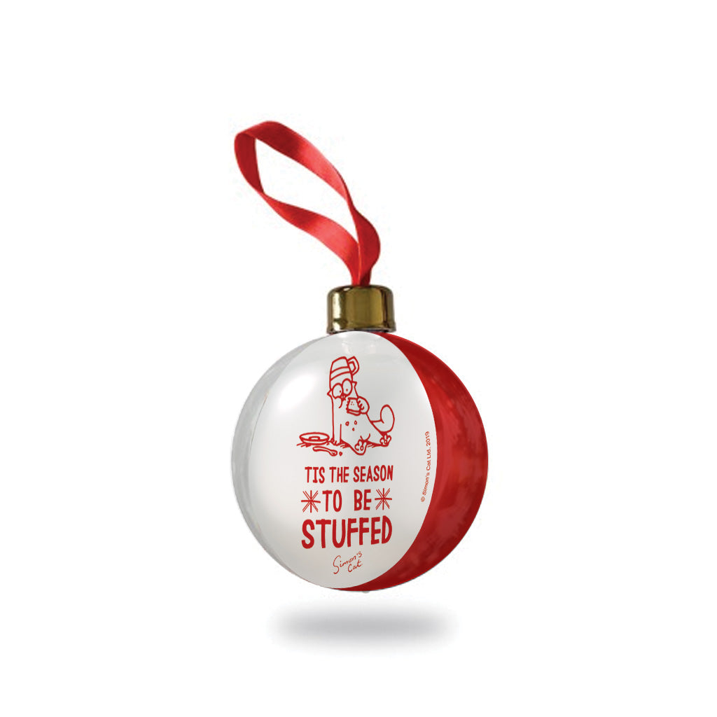 Simon's Cat Christmas Bauble - White