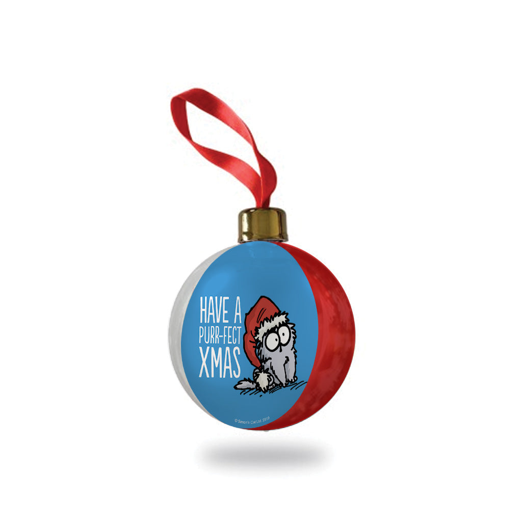Simon's Cat Christmas Bauble - Blue
