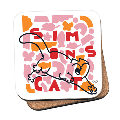 Simon's Cat Geo Pink Coaster