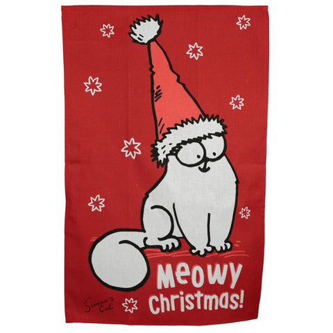 Simon's Cat Meowy Christmas Hat Tea Towel