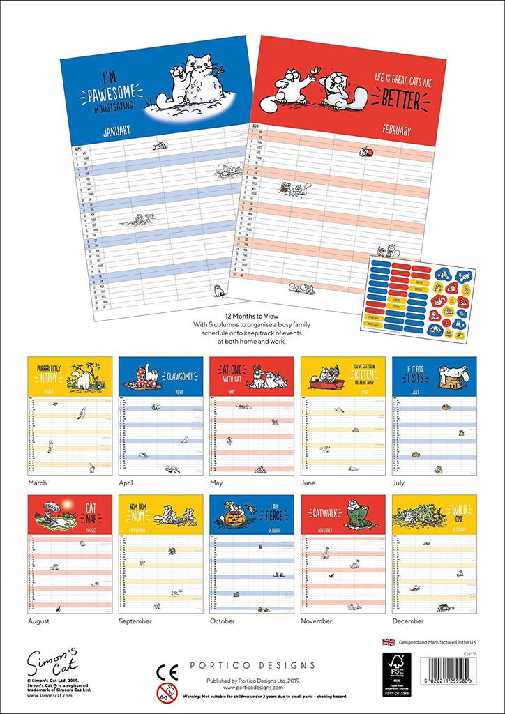Simon's Cat 2020 A3 Family Calendar with Reminder Stickers