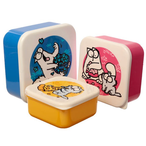 Simon's Cat set of 3 Snack Boxes - Blue Pink Yellow - Simon's Cat Shop