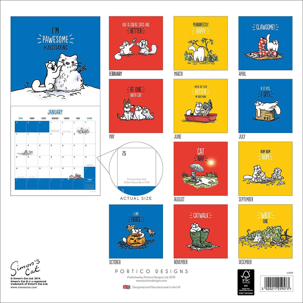 Simon's Cat 2020 Square Calendar