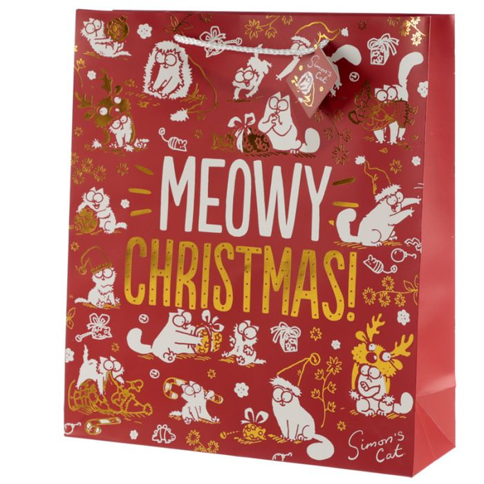 Simon's Cat Meowy Christmas Metallic Gift Bag - Extra Large - Simon's Cat Shop