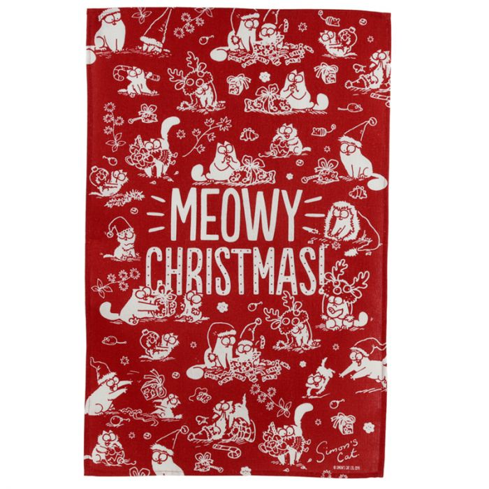 Simon's Cat Meowy Christmas Tea Towel - Simon's Cat Shop