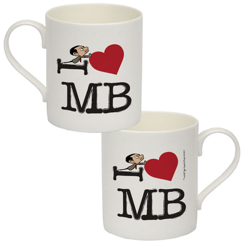 Black I Heart Mr Bean Bone China Mug