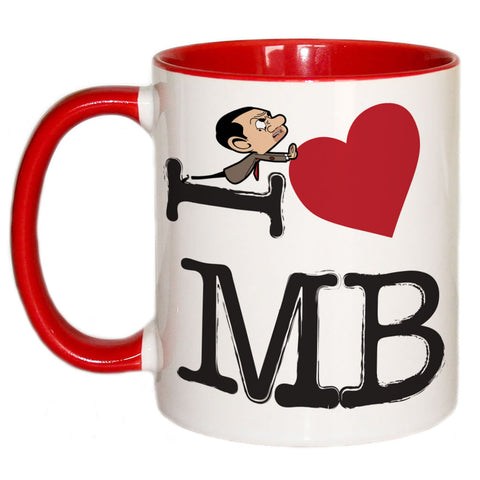 Black I Heart Mr Bean Coloured Insert Mug