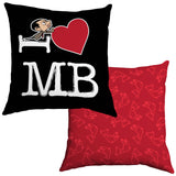 Black I Heart Mr Bean Cushion
