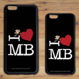 Black I Heart Mr Bean Phone case (Lifestyle)
