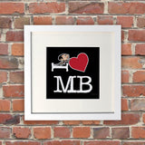 Black I Heart Mr Bean White Framed Print (Lifestyle)