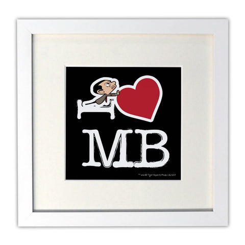 Black I Heart Mr Bean Mounted Art Print