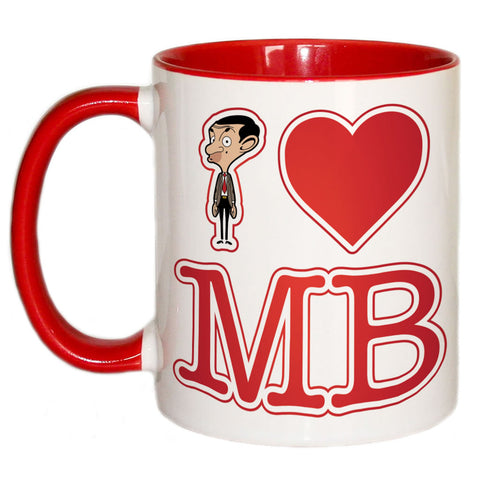 White I Heart Mr Bean Coloured Insert Mug