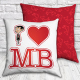 White I Heart Mr Bean cushion (Lifestyle)