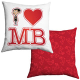 White I Heart Mr Bean Cushion