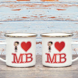 White I Heart Mr Bean Enamel Mug (Lifestyle)