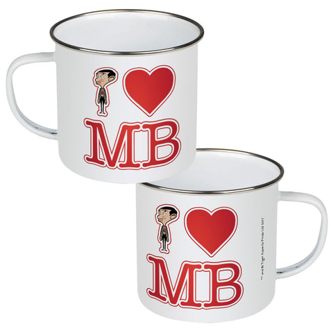 White I Heart Mr Bean Enamel Mug