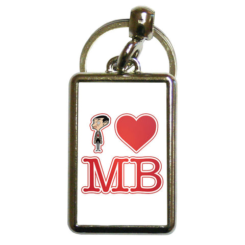 White I Heart Mr Bean Metal Keyring