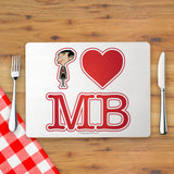 White I Heart Mr Bean Placemat (Lifestyle)